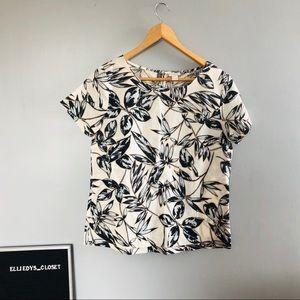 J. Crew Factory Leaf Print Linen Blend T-shirt